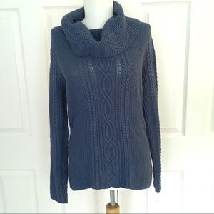 JEANNE PIERRE Navy Blue Cowl Neck Sweater